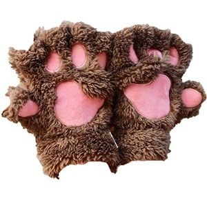 Cat Paw Cute Plush Gloves Winter Thick Warm Gloves